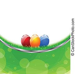 pascua, tarjeta, con, colorido, huevos