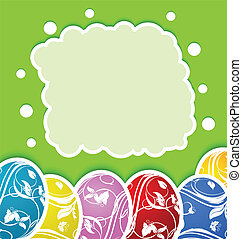 pascua, tarjeta, con, conjunto, colorido, florido, huevos