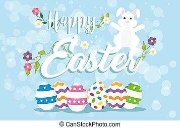 pascua, tarjeta de felicitación, de, feliz, conejo, y, huevos