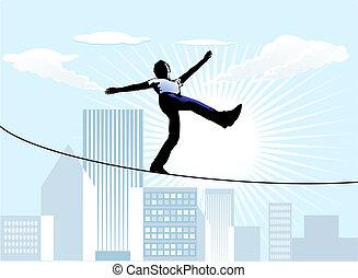 paseante, cuerda de equilibrista