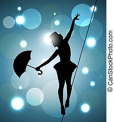 paseante, cuerda de equilibrista, niña, paraguas