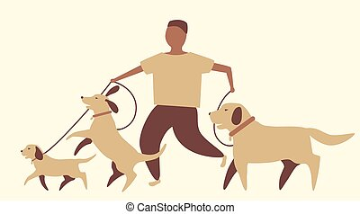 paseante, gráfico, perro