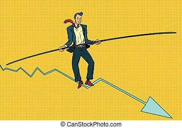paseante, hombre de negocios, cuerda de equilibrista