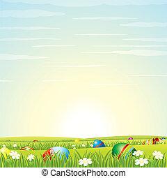 pasen, achtergrond., eitjes, in, groene, grass., vector