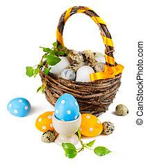 pasen, achtergrond, mand, eitjes, witte