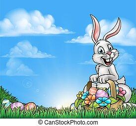 pasen, achtergrond, met, konijntje, en, eitjes