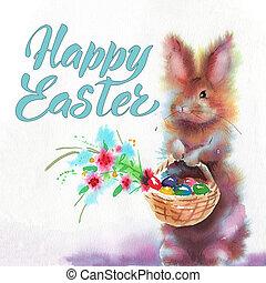 pasen bunnies, en, pasen, eggs., watercolors, illustratie, met, schattig, animals., pasen, postkaart