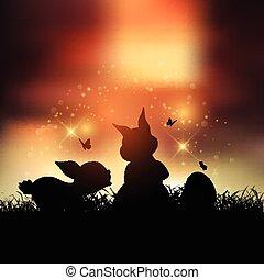 pasen bunnies, ondergaande zon