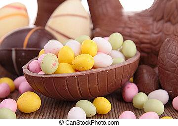 pasen, chocoladekleurig eieren