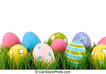 pasen, eieren kleurde, op, de, grass.