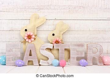 pasen, hout, brieven, met, eitjes, en, bunnies