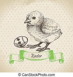 pasen, illustratie, achtergrond, chick., ouderwetse , hand, getrokken