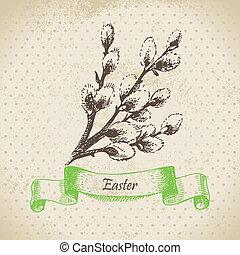 pasen, illustratie, achtergrond, pussy-willow., ouderwetse , hand, getrokken