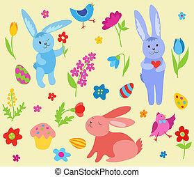 pasen, set, konijnen, schattig