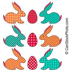 pasen, set, konijnen, toepassing