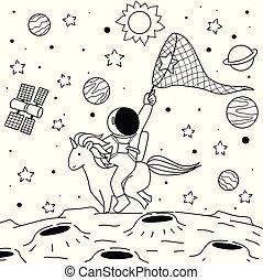 paseo, astronauta, unicornio