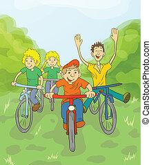 paseo, bicicleta, niños
