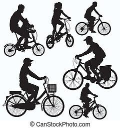 paseo de bicicleta, siluetas, vector
