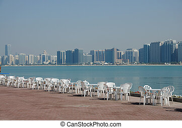 paseo, unido, sillas, árabe, emiratos, abu dhabi