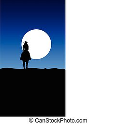 paseo, vaquero, ilustración, luna