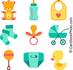 pasgeboren baby, set., farceren, iconen