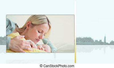 pasgeboren, haar, video's, moeder