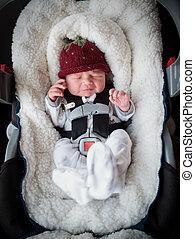pasgeboren, jongen, auto stoel
