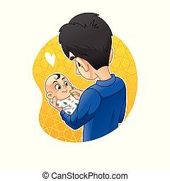 pasgeboren, jongen, vasthoudende baby, handen, zijn, vader