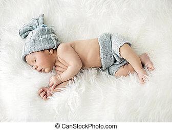 pasgeboren, kind, slapende, op, de, deken