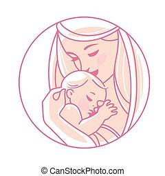 pasgeboren, logotype., hands., baby, moeder