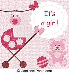 pasgeboren, meisje, begroetende kaart