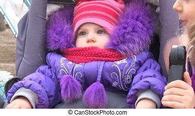 pasgeboren, meisje, weinig; niet zo(veel), haar, baby, blik, wagen, zuster