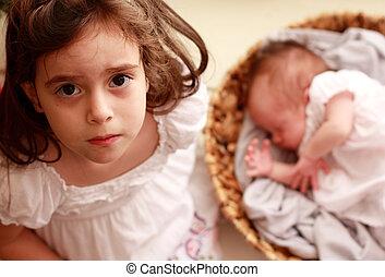 pasgeboren, meisje, zuster, haar