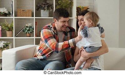 pasgeboren, vertragen, toneelstukken, gezin, samen, motie, hun, dochter, vrolijke