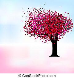 pasión, árbol, romántico, plantilla, card., eps, 8