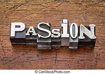 pasión, palabra, en, metal, tipo