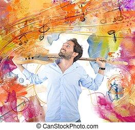 pasión, para, guitarra
