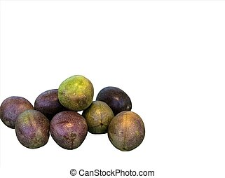 Pasiflora fruits on white background
