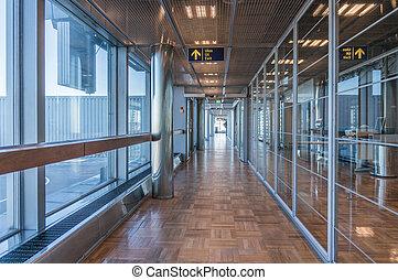 pasillo, aeropuerto, contemporáneo
