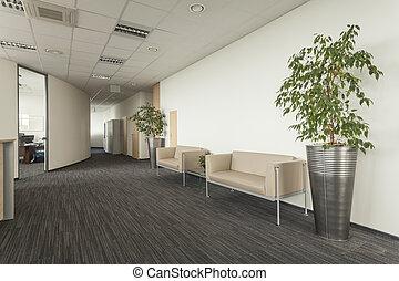 pasillo, con, sofá