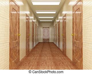 pasillo, con, un, número, de, doors., 3d, image.