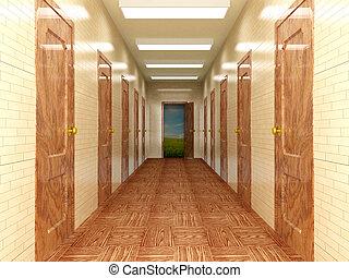 pasillo, con, un, varios, de, doors., 3d, image.