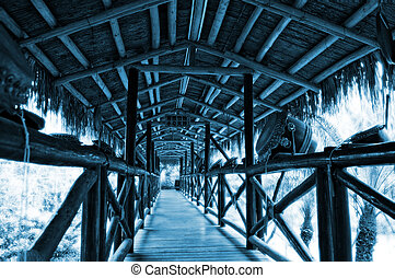 pasillo, de, puente de madera