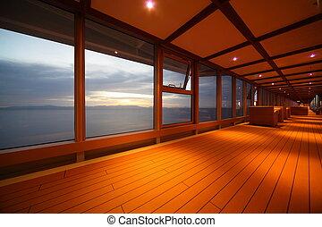 pasillo, en, crucero, ship., fila, de, lamps., hermoso, vista, por, ventana.