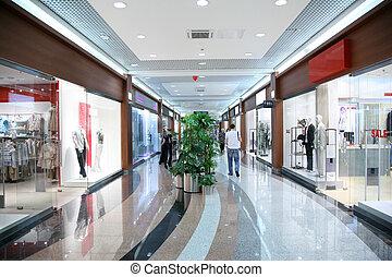 pasillo, en, el, comercial, centro