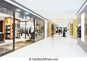 pasillo, en, moderno, tienda