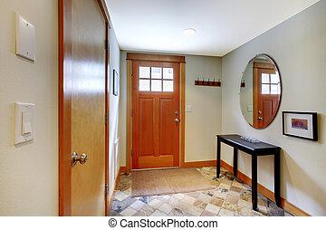pasillo, entrada, dos, puertas