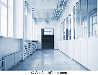 pasillo, escuela, vacío