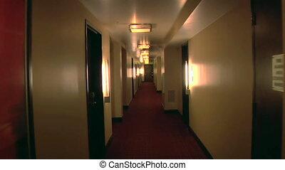 pasillo, hotel, moderno