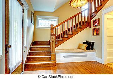 pasillo, interior., viejo, escalera, banco